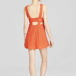 FREE PEOPLE Textured Lace Poppy Dress Orange-S,M,L